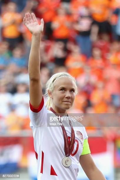 Pernille Harder of Denmark waves to the fans following the Final of the UEFA Women's Euro 2017 between Netherlands v Denmark at FC Twente Stadium on...