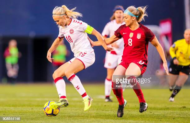 Pernille Harder of the Danish women's national team controls the ball during the first half against Julie Ertz of the US women's national team at...