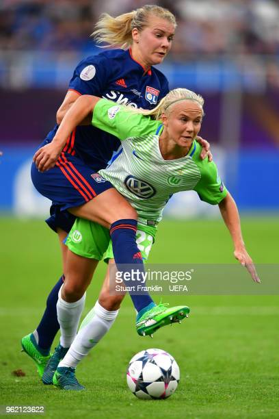 Pernille Harder of Vfl Wolfsburg and Ada Hegerberg of Lyon compete for the ball during the UEFA Womens Champions League Final between VfL Wolfsburg...