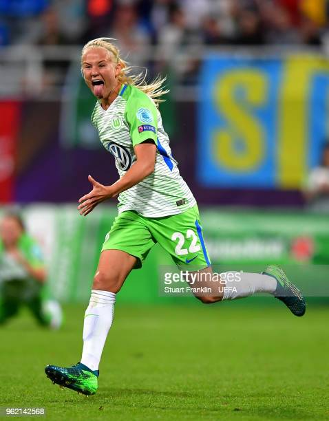 Pernille Harder of Vfl Wolfsburg celebrates scoring her sides first goal during the UEFA Womens Champions League Final between VfL Wolfsburg and...