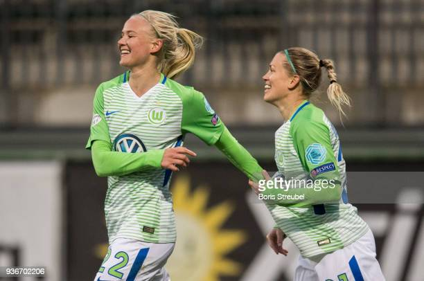 Pernille Harder of VfL Wolfsburg celebrates with team mates after scoring his team's first goal uring the UEFA Women's Champions League Quarter Final...