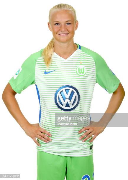 Pernille Harder of VfL Wolfsburg poses during the Allianz Frauen Bundesliga Club Tour at AOK Stadion on August 29 2017 in Wolfsburg Germany