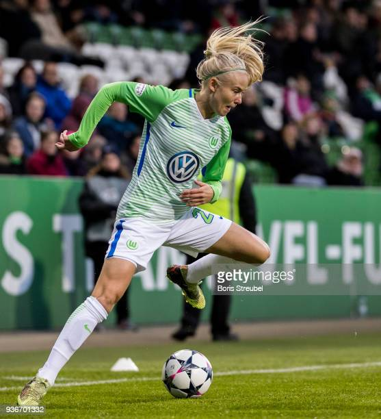 Pernille Harder of VfL Wolfsburg runs with the ball during the UEFA Women's Champions League Quarter Final first leg match between VfL Wolfsburg and...