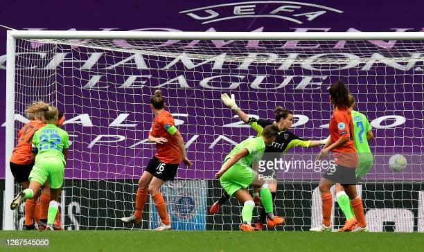 Pernille Harder of VfL Wolfsburg scores her team's seventh goal during the UEFA Women's Champions League Quarter Final between Glasgow City Women and...