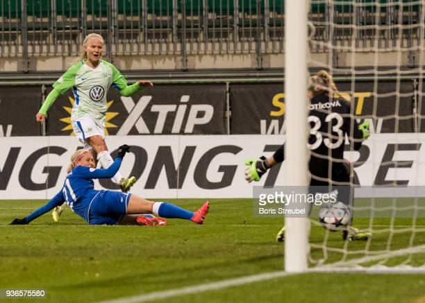 Pernille Harder of VfL Wolfsburg scores his team's first goal during the UEFA Women's Champions League Quarter Final first leg match between VfL...