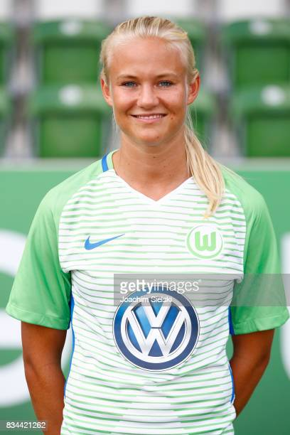 Pernille Harder of VfL Wolfsburg Women's poses during the team presentation at AOK Stadion on August 16 2017 in Wolfsburg Germany