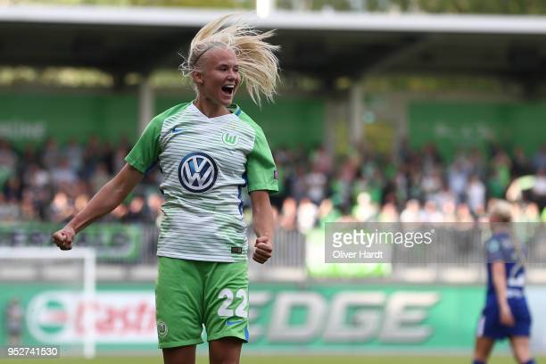 Pernille Harder of Wolfsburg celebrate after her first goal during the Women's UEFA Champions League semi final second leg match between VfL...