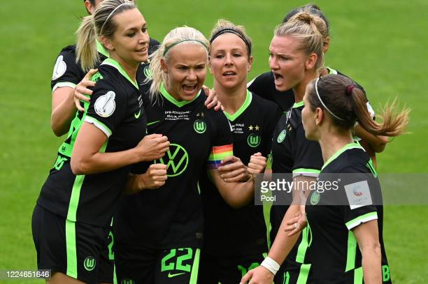 Pernille Harder of Wolfsburg celebrates after scoring her sides first goal during the Women's DFB Cup final between VfL Wolfsburg Women's and SGS...