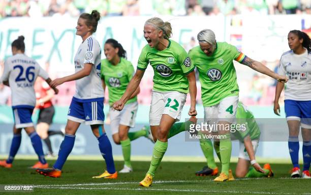 Pernille Harder of Wolfsburg celebrates scoring the 10 goal during the Women's DFB Cup Final 2017 match between SC Sand and VFL Wolfsburg at...