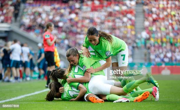 Pernille Harder of Wolfsburg celebrates scoring the 10 goal with teammates during the Women's DFB Cup Final 2017 match between SC Sand and VFL...