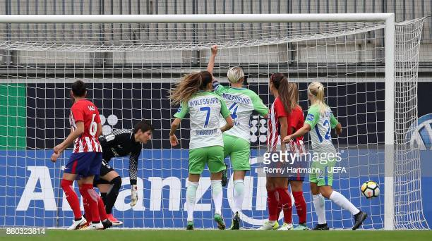 Pernille Harder of Wolfsburg scores a goal during the UEFA Women Champions League Round of 32 second leg match between VFL Wolfsburg and Atletico...