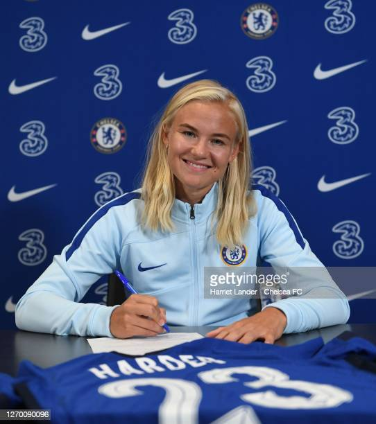 Pernille Harder poses for a photo as she signs for Chelsea FC Women at Stamford Bridge on September 01 2020 in London England