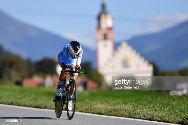 Pernille Mathiesen of Denmark / during the Women Elite Individual Time Trial a 278km race from Wattens to Innsbruck 582m at the 91st UCI Road World...
