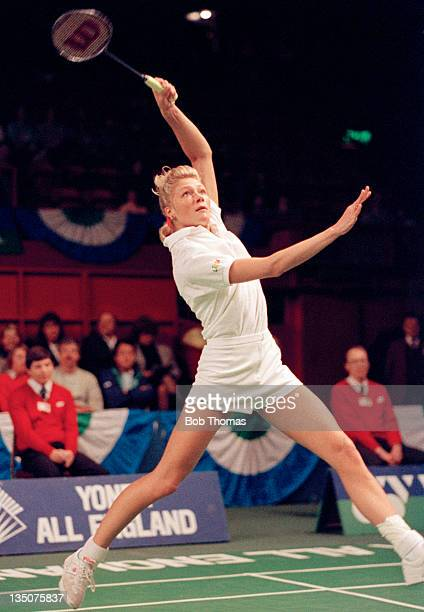 Pernille Nedergaard of Denmark in action during the All England Badminton Championships at Wembley Arena in London circa March 1990