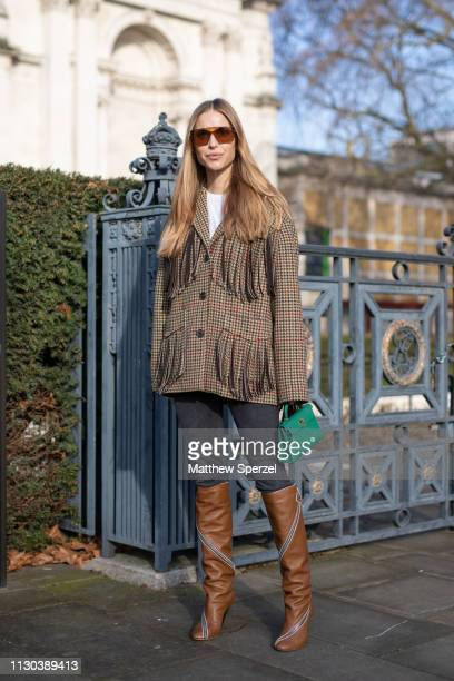 Pernille Teisaek is seen on the street during London Fashion Week February 2019 wearing Victoria Beckham on February 17 2019 in London England