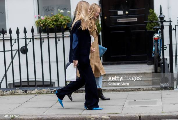 Pernille Teisbaek and Alexandra Carl outside JW Anderson during London Fashion Week September 2017 on September 16 2017 in London England