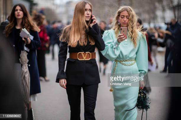 Pernille Teisbaek and Emili Sindlev is seen outside Valentino during Paris Fashion Week Womenswear Fall/Winter 2019/2020 on March 03 2019 in Paris...
