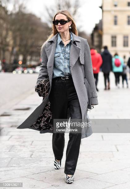 Pernille Teisbaek is seen wearing a Paco Rabanne outfit outside the Paco Rabanne show during Paris Fashion Week: AW20 on February 27, 2020 in Paris,...