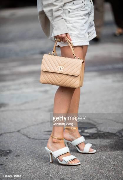 Pernille Teisbaek is seen wearing Chanel bag outside By Malene Birger during Copenhagen Fashion Week Spring/Summer 2020 on August 08, 2019 in...