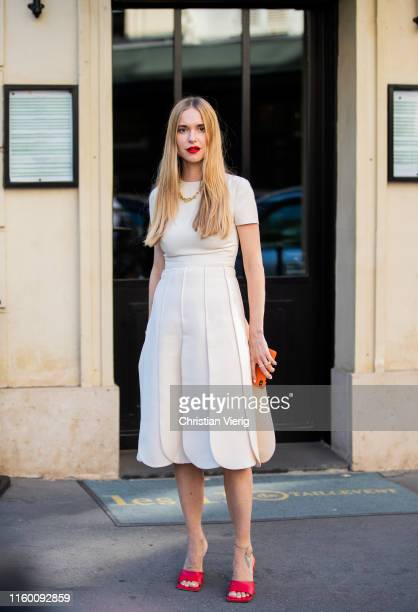 Pernille Teisbaek is seen wearing white dress outside Valentino during Paris Fashion Week Haute Couture Fall/Winter 2019/2020 on July 03 2019 in...