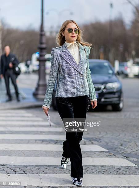 Pernille Teisbaek is wearing a silver Chanel blazer jacket and black velvet pants outside Chanel during the Paris Fashion Week Womenswear Fall/Winter...