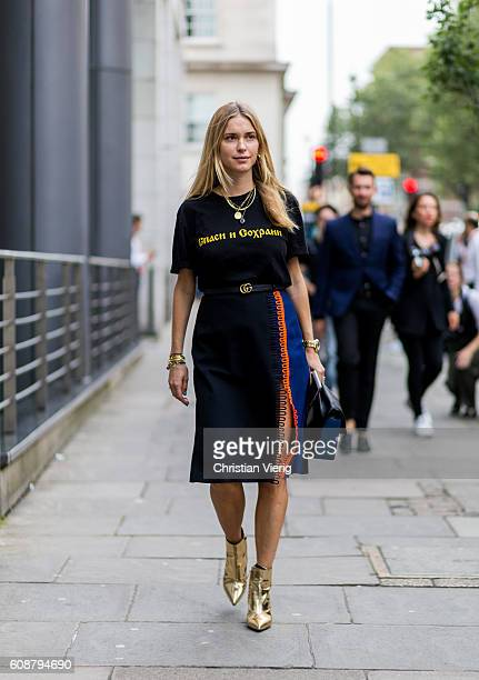 Pernille Teisbaek outside during London Fashion Week Spring/Summer collections 2017 on September 19 2016 in London United Kingdom