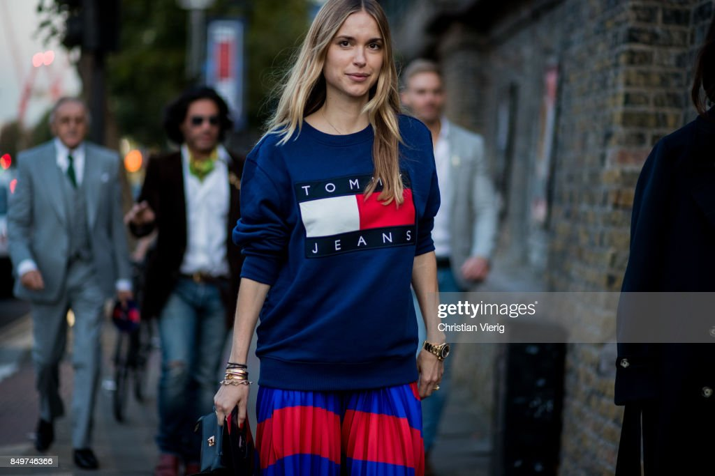 Pernille Teisbaek outside Tommy Hilfiger during London Fashion Week September 2017 on September 19, 2017 in London, England.