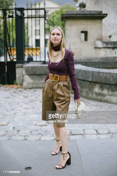 Pernille Teisbaek poses wearing Valentino after the Valentino show during Paris Fashion Week Womenswear Spring Summer 2020 on September 29 2019 in...