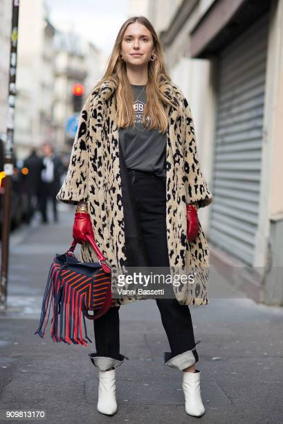 Pernille Teisbaek poses with a Loewe bag after the Acne Studios show during Paris Fashion Week Haute Couture Spring Summer 2018 on January 24 2018 in...