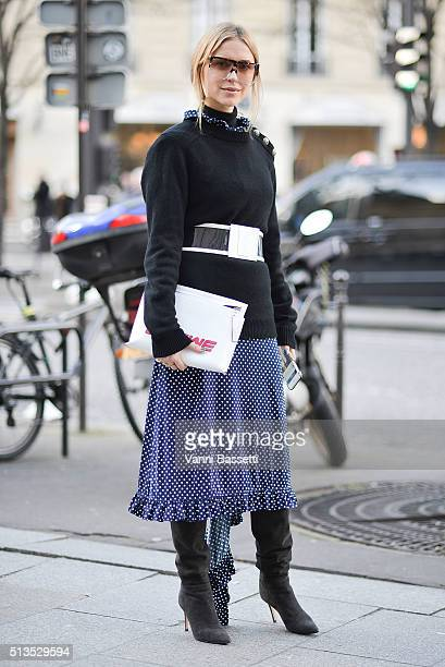 Pernille Teisbaek poses with a Loewe bag after the Balmain show at the Hotel Potocki during Paris Fashion Week FW 16/17 on March 3 2016 in Paris...