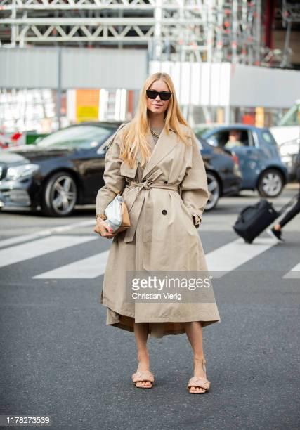 Pernille Teisbaek seen wearing brown trench coat, bag, Bottega Veneta shoes outside Stella McCartney during Paris Fashion Week Womenswear Spring...