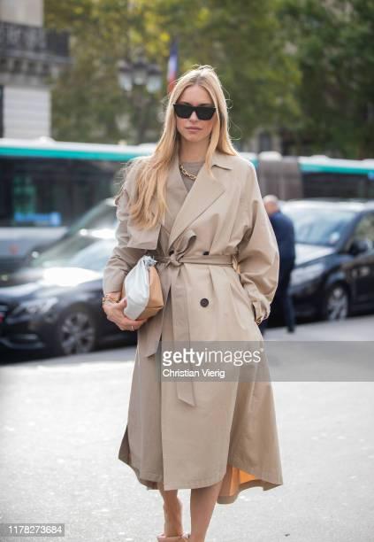 Pernille Teisbaek seen wearing brown trench coat bag Bottega Veneta shoes outside Stella McCartney during Paris Fashion Week Womenswear Spring Summer...