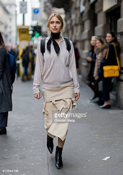 Pernille Teisbaek wearing a Louis Vuitton backpack seen outside Sportmax during Milan Fashion Week Fall/Winter 2016/17 on February 26 in Milan Italy