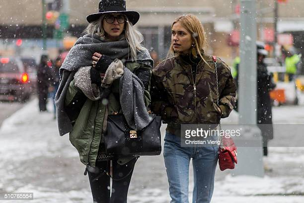 Pernille Teisbaek wearing a military bomber seen outside Phillip Lim during New York Fashion Week Women's Fall/Winter 2016 on February 15 2016 in New...