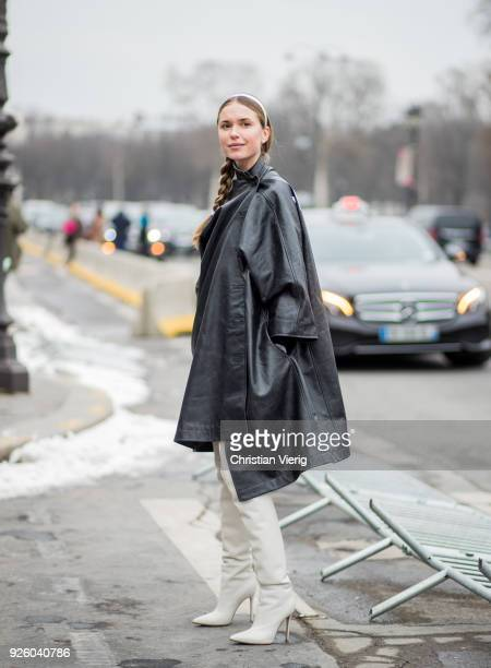 Pernille Teisbaek wearing asymmetric Balenciaga leather jacket is seen outside Paco Rabanne on March 1 2018 in Paris France