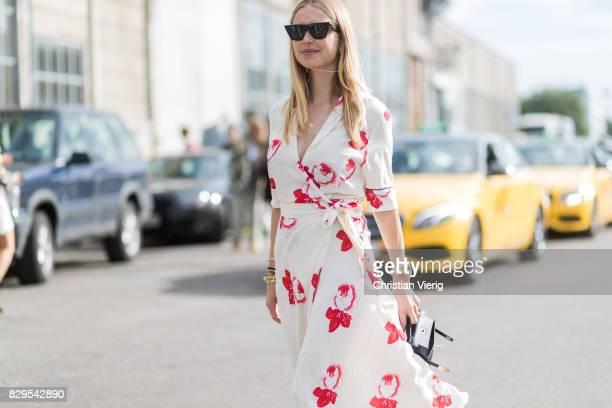 Pernille Teisbaek wearing dress outside Ganni on August 10 2017 in Copenhagen Denmark