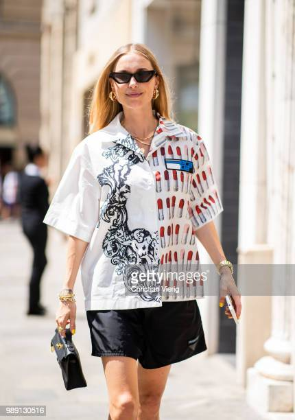 Pernille Teisbaek wearing Prada button shirts and shorts is seen outside Hermes Resort during Paris Fashion Week Haute Couture FW18 on July 1, 2018...