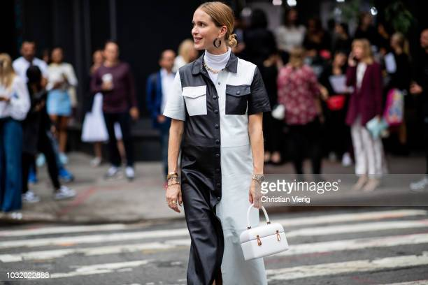 Pernille Teisbaek wearing two tone black white dress sandals and white bag seen outside Gabriela Hearst during New York Fashion Week Spring/Summer...