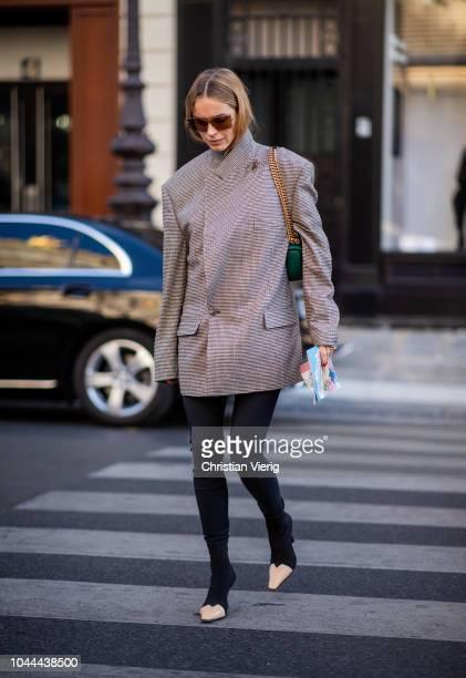 Pernille Teisbaek wearing Vetements jacket is seen outside Stella McCartney during Paris Fashion Week Womenswear Spring/Summer 2019 on October 1 2018...