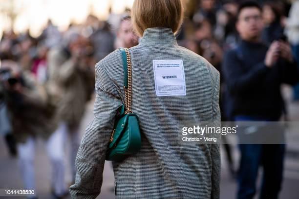 Pernille Teisbaek wearing Vetements jacket is seen outside Stella McCartney during Paris Fashion Week Womenswear Spring/Summer 2019 on October 1,...