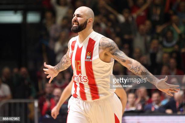 Pero Antic #12 of Crvena Zvezda mts Belgrade in action during the 2017/2018 Turkish Airlines EuroLeague Regular Season Round 11 game between Crvena...