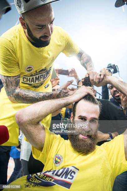 Pero Antic #12 of Fenerbahce Istanbul and Luigi Datome #70 of Fenerbahce Istanbul during the 2017 Final Four Istanbul Turkish Airlines EuroLeague...