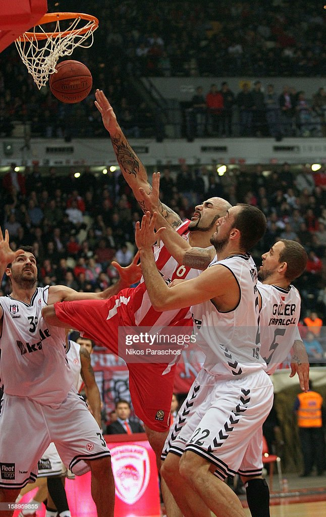 Pero Antic, #6 of Olympiacos Piraeus in action during the 2012-2013 Turkish Airlines Euroleague Top 16 Date 2 between Olympiacos Piraeus v Besiktas JK Istanbul at Peace and Friendship Stadium on January 4, 2013 in Athens, Greece.