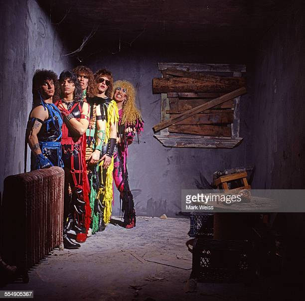 AJ Pero Eddie Ojeda Mark Mendoza Jay Jay French and Dee Snider of Twisted Sister group portrait outtake from the cover shoot for their 'Stay Hungry'...