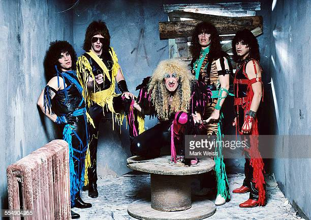 AJ Pero Jay Jay French Dee Snider Mark Mendoza and Eddie Ojeda of Twisted Sister group portrait outtake from the 'Stay Hungry' album cover shoot New...