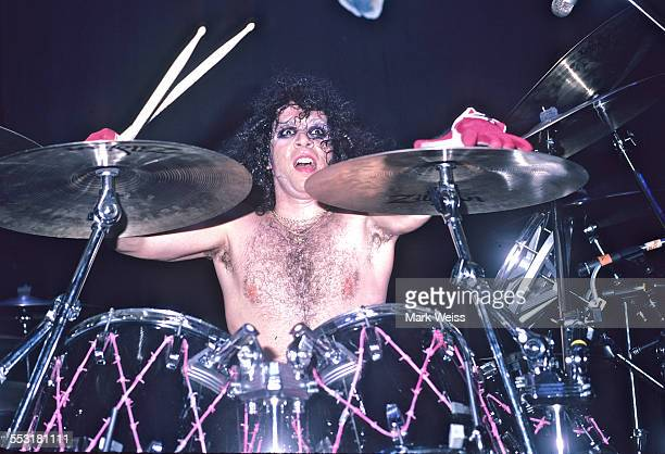 AJ Pero of Twisted Sister behind the drum kit on set during the video shoot for 'I Wanna Rock' Los Angeles California United States 1984