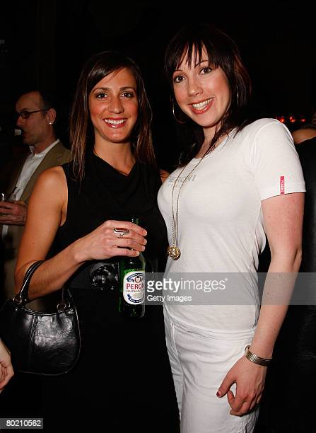 Peroni model Elizabeth Frainen and guest pose at the Maggie Barry for Xubaz Fall 2008 after party during MercedesBenz Fashion Week at Citizen Smith...