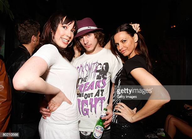 Peroni model Elizabeth Frainen and guests pose at the Maggie Barry for Xubaz Fall 2008 after party during MercedesBenz Fashion Week at Citizen Smith...
