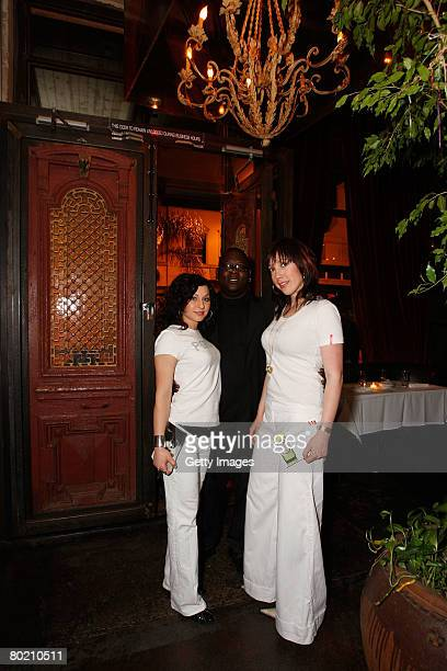 Peroni models Andrea Forcina and Elizabeth Frainen pose outside at the Maggie Barry for Xubaz Fall 2008 after party during MercedesBenz Fashion Week...