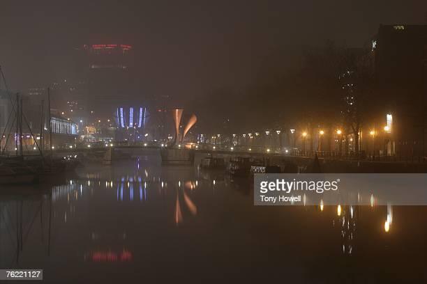 Perot Bridge, Harbour, Night, Fog, Bristol, England, UK